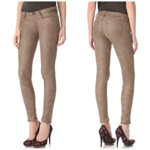 MOTHER The Looker Crackle Tan Faux Suede Pants